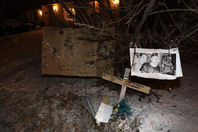A makeshift memorial for Matthew Reynolds and Tyler Hawula, victims of a deadly shooting in 2009.
