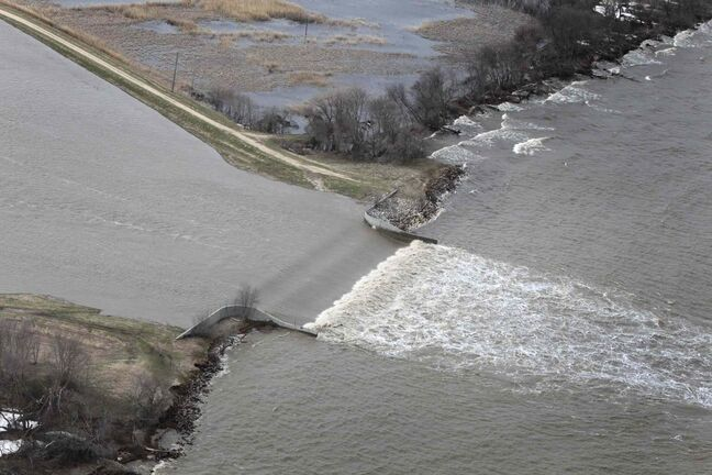Flood Flight Water from the Portage Diversion spills into Lake Manitoba in this 2011 file photo.