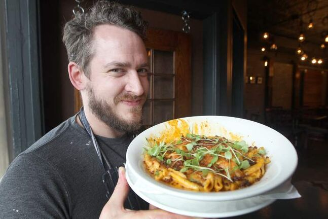 Chef Scott Bagshaw of Deseo Bistro with his take on mac and cheese.