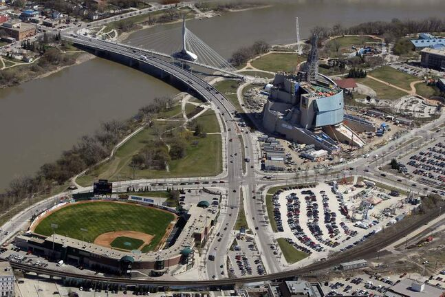 The downtown ballpark, Canadian Museum for Human Rights, and Parcel Four.