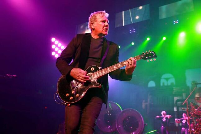 Rush guitarist and backing vocalist Alex Lifeson perforns at the MTS Centre Wednesday evening.