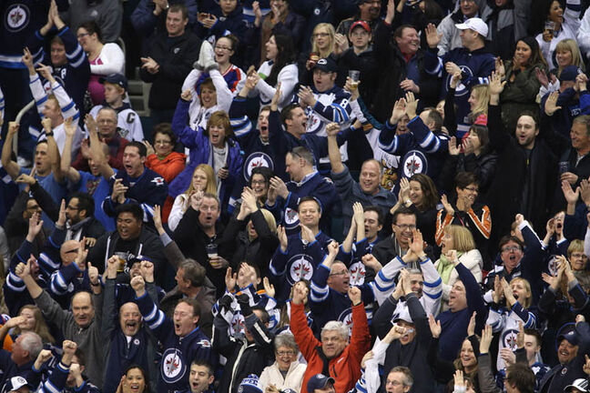 Winnipeg Jets' fans get loudtlate in the third period of the Jets' victory over the Pittsburgh Penguins at MTS Centre, Friday, January 25, 2013.