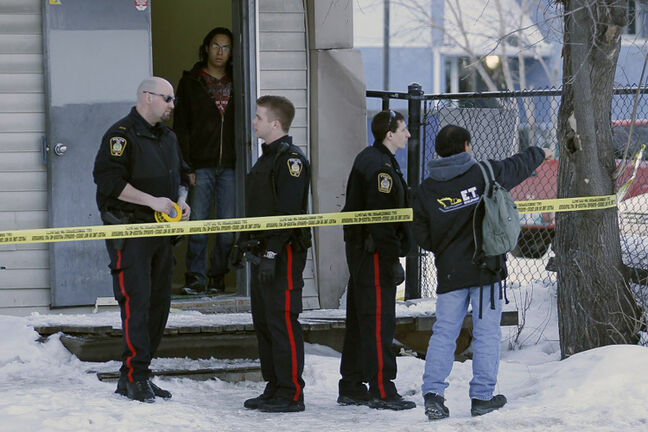 Police investigate the death at 626 Balmoral on February 26, 2013.