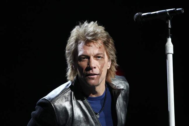 Jon Bon Jovi stares down the camera Friday night.