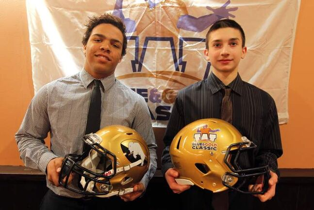 Alex Taylor (left) and Colby Kyliuk at the Blue and Gold Classic football press conference Wednesday.