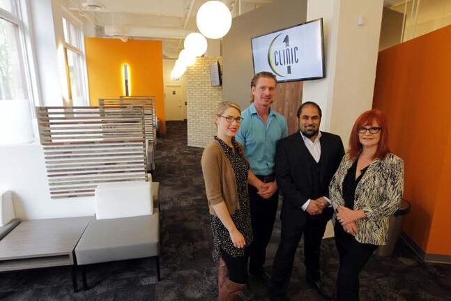 The visionary team of interior designer Renee Martel (from left), pharmacist/manager Jeff Froese, director/manager Dr. Meer Janjua and Arnott + Associates  owner Leah Arnott worked together to achieve the perfect balance of old and new in the creation of Exchange District walk-in clinic/pharmacy, Clinic 1.