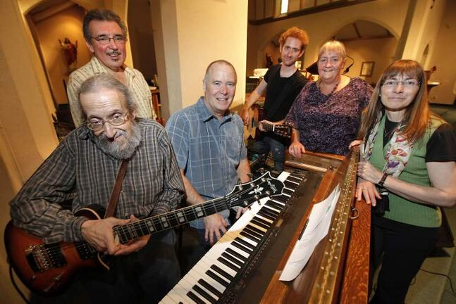 Discernment members (from left) Darryl Torchia, Dan Leonhardt, Jeff Doerr, Keith Macpherson, Rita Doerr and Eileen Grant-MacLeod are retiring after 40 years of singing in the Winnipeg church.