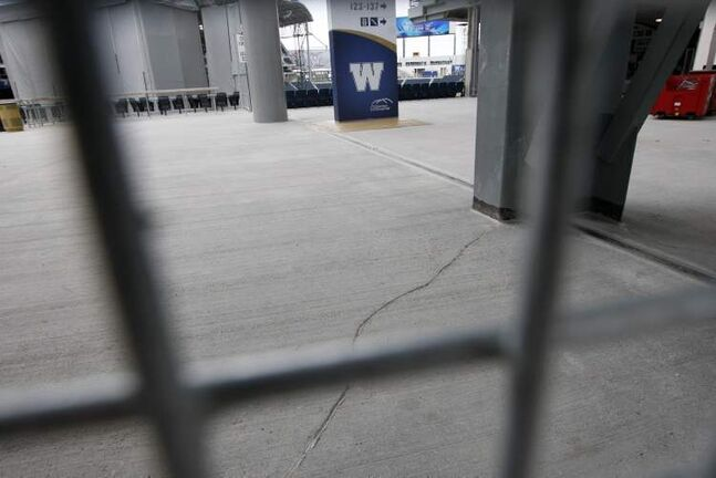 Cracks have been found in the concrete floors and sidewalks at Investors Group Stadium.