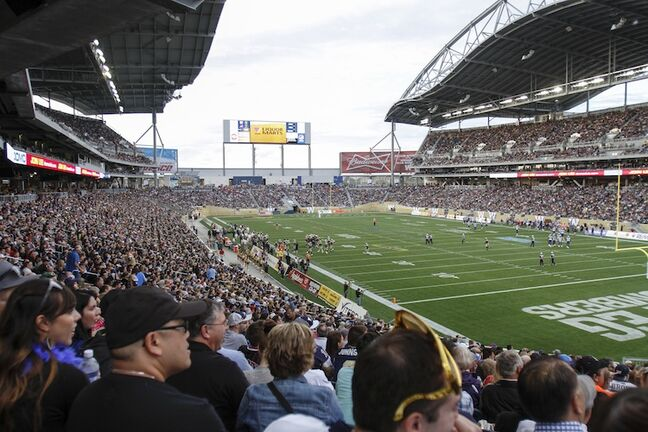 Fans get ready to watch the Winnipeg Blue Bombers' regular-season opener against the Montreal Alouettes Thursday night.