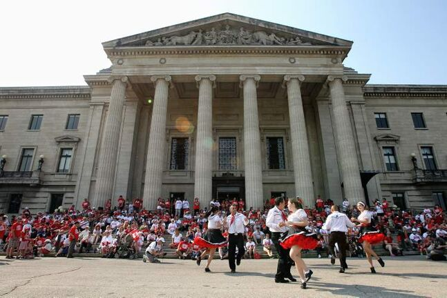 Norman Chief Memorial Dancers perform for the public during the Living Flag event taking place on the grounds of the Manitoba Legislative Building Monday morning.