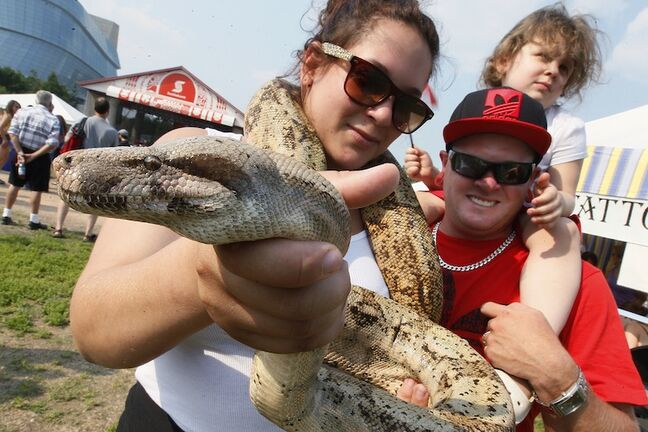 Branndy (left), Eric, and Isabella, 4, brought Harley, their 10-year-old Dumeril's boa out to enjoy the Canada Day festivities at The Forks.