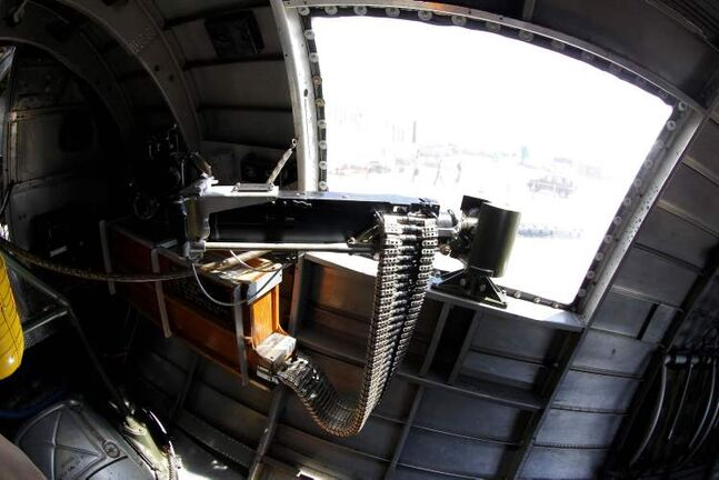 The waist gunner section of the B-17 bomber.