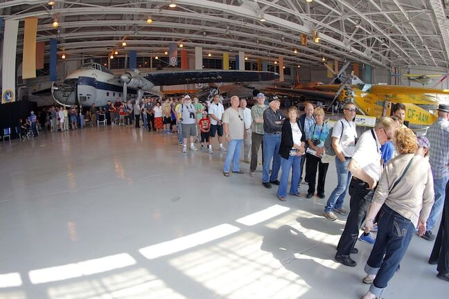 Visitors line up to take a tour inside the B-17 bomber.