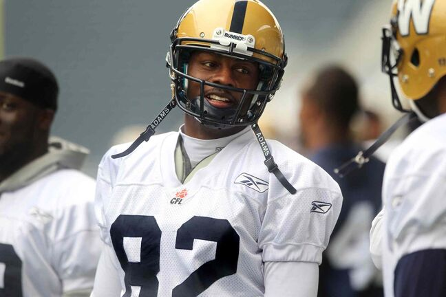 Terrance Edwards practises with the Bombers Saturday at Investors Group Field.