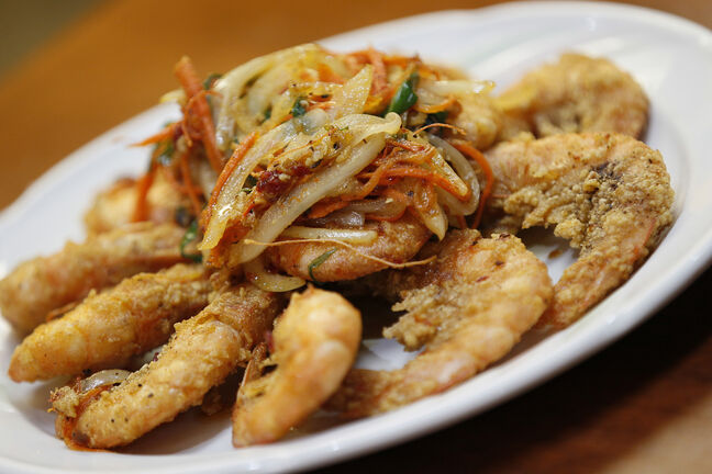 Szechuan style pan-fried shrimp