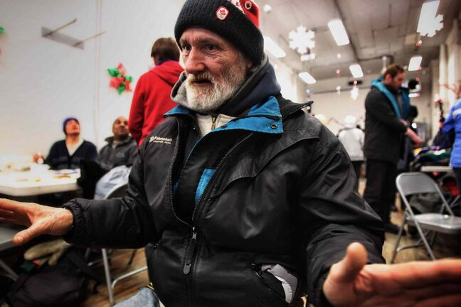 Tom Goulet was at Lighthouse Mission on Sunday hoping to find a few bits of clothing to help keep him warm as the temperatures drop.