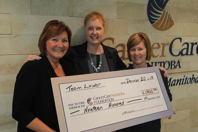 Lindor Reynolds (centre) with CancerCare president and CEO Annitta Stenning (left) and special-events manager Nicola Lindley.