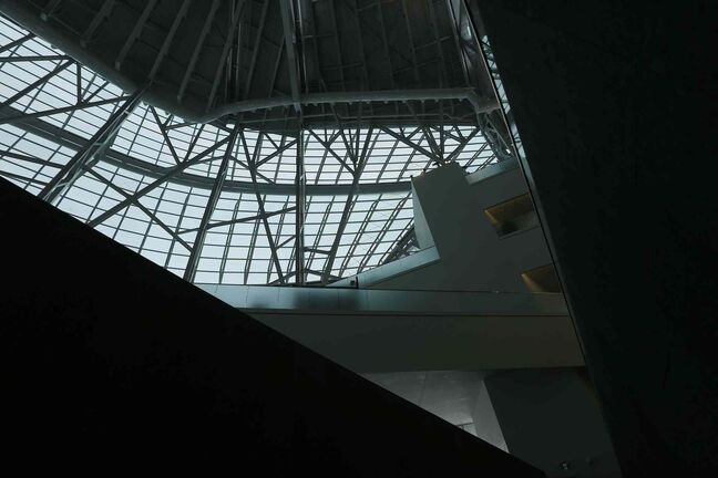 Looking up from the second level Garden of Contemplation at the glass and steel structure above.