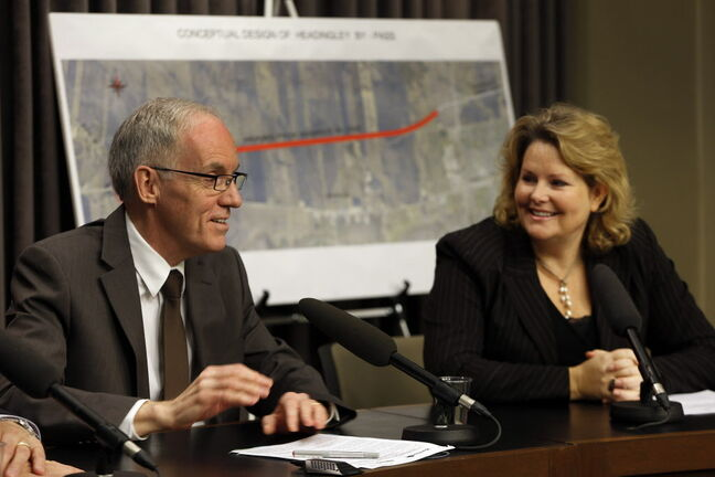 Infrastructure and Transportation Minister Steve Ashton and Diane Gray, CEO of CentrePort, made the bypass extension announcement Monday.
