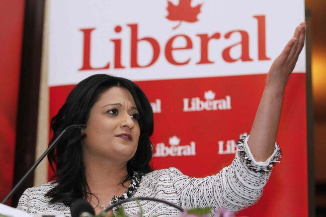 Provincial Liberal leader Rana Bokari speaks at the party's annual general meeting in Winnipeg on Saturday.