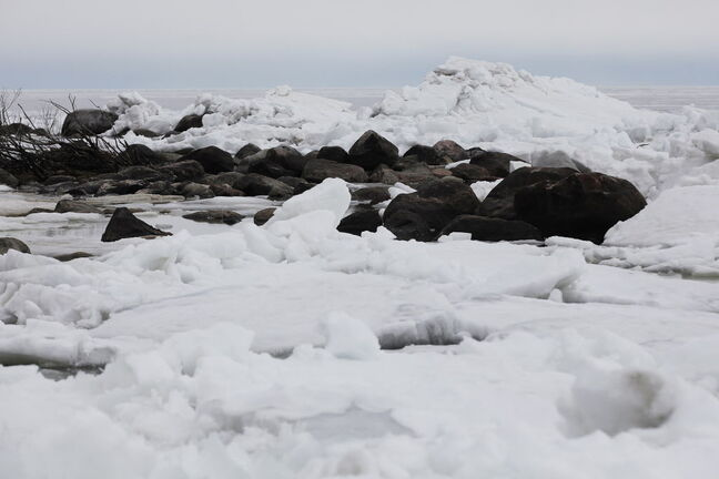Ice builds up close to the shores of Victoria Beach on Lake Winnipeg.