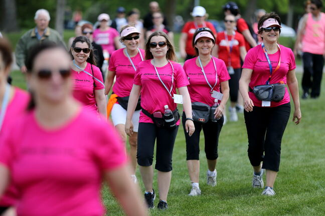 The 20-kilometre Challenge for Life walk began at Assiniboine Park this morning, winding its way down Wellington Crescent, through Memorial Park and eventually back to its starting point.