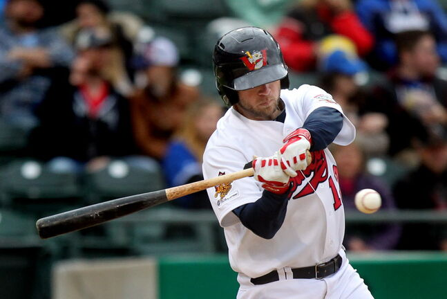 The Goldeyes' Casey Haerther takes a close look at a pitch in Wednesday's game against Grand Prairie.