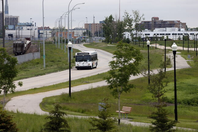 The existing transitway that leads to Jubilee Avenue. The newly approved plan extends it to the University of Manitoba.