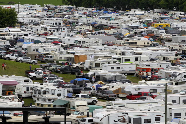 Campers fill the fields behind the stage. The festival expanded its camping area to 4,300 spaces this year.