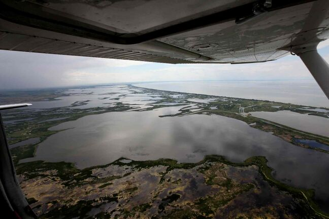 Aerial photo of the south basin of the Lake Manitoba area.
