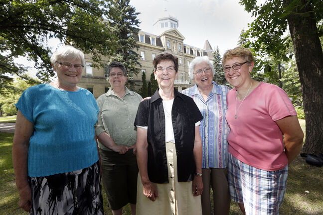 Sisters of the Holy Names of Jesus and Mary celebrate 140 years in Manitoba at St. Mary's Academy. From left sisters Johanna Jonker, Charlotte Leake, Leonne Dumesnil, Mary Gorman, Michelle Garlinski.