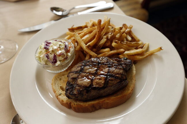 Famous steak sandwich at Bailey's Restaurant & Lounge