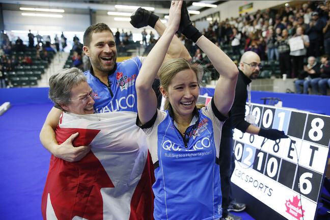 JOHN WOODS / WINNIPEG FREE PRESS</p><p>Kaitlyn Lawes, with her mother Cheryl, and John Morris celebrate defeating Brad Gushue and Val Sweeting in the Mixed Doubles Curling Trials in Portage la Prairie Sunday. Lawes and Morris will represent Canada at the 2018 Winter Olympics in Korea.</p>