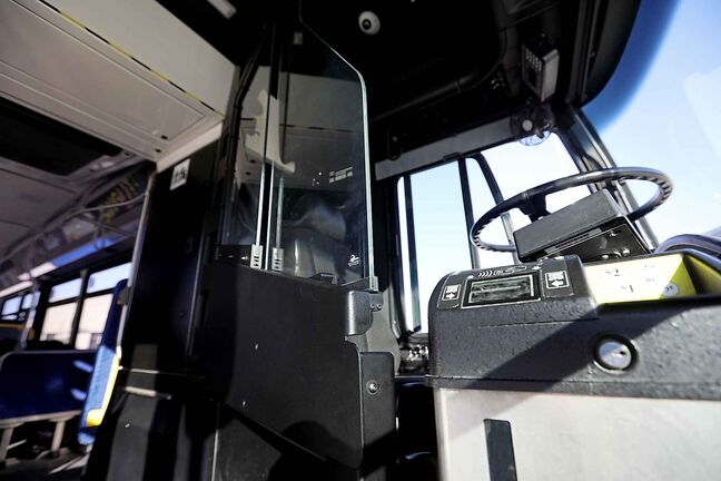 RUTH BONNEVILLE / WINNIPEG FREE   PHOTOS of a new bus with glass shield installed to protect drivers.   Why: Story on transit safety, one year after driver Irvine Jubal Fraser was murdered on shift   Jessica Botelho-Urbanski  FEB 12,2018