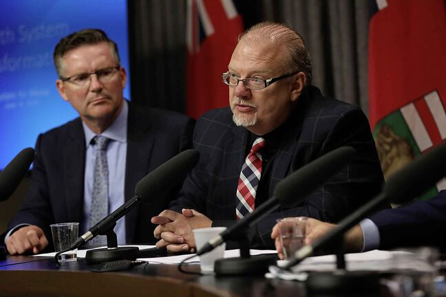 Health, Minister, Kelvin Goertzen, answers questions from the media about the layout of the Health System Transformation Blueprint .