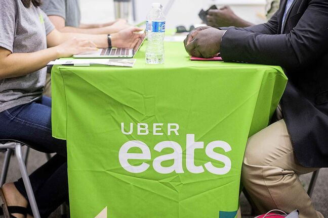 Uber Eats hosted a sign-up event at the Millennium Library in Winnipeg on Tuesday.
