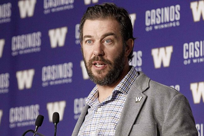 The Winnipeg Blue Bombers General Manager Kyle Walters talks to the media at Investors Group Field Tuesday afternoon.