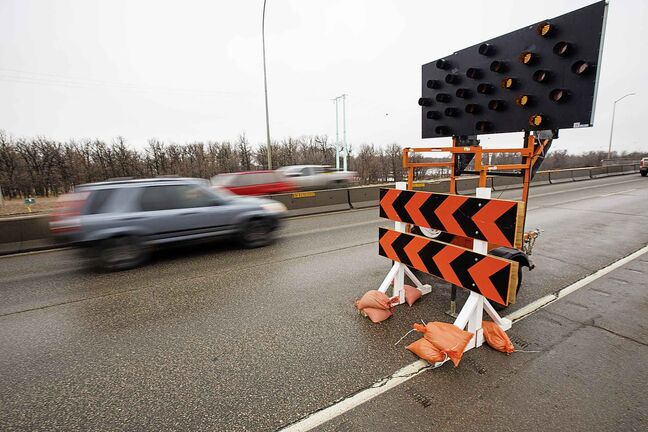 The westbound curb lane of the Red River Bridge along the South Perimeter is closed for repairs.