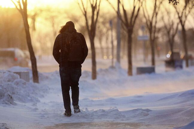 RUTH BONNEVILLE / WINNIPEG FREE PRESS    Standup photo     A student makes their way westward down Chancellor-Matheson Rd. from the University of Manitoba against high winds and blowing snow Tuesday afternoon.         Jan 8th, 2019