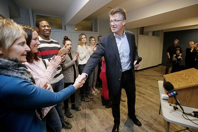 Manitoba MLA Andrew Swan greets supporters at Robert Steen Community Centre before he announced on Monday that he will be running for the federal NDP seat in Winnipeg Centre in the next federal election.