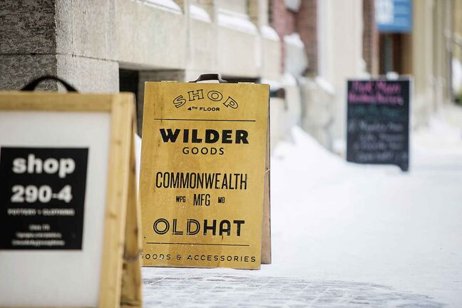 MIKAELA MACKENZIE / WINNIPEG FREE PRESS Wilder Goods, Commonwealth Manufacturing, and Oldhat share a retail and workshop space in the exchange district in Winnipeg on Friday, Feb. 8, 2019. Winnipeg Free Press 2019.