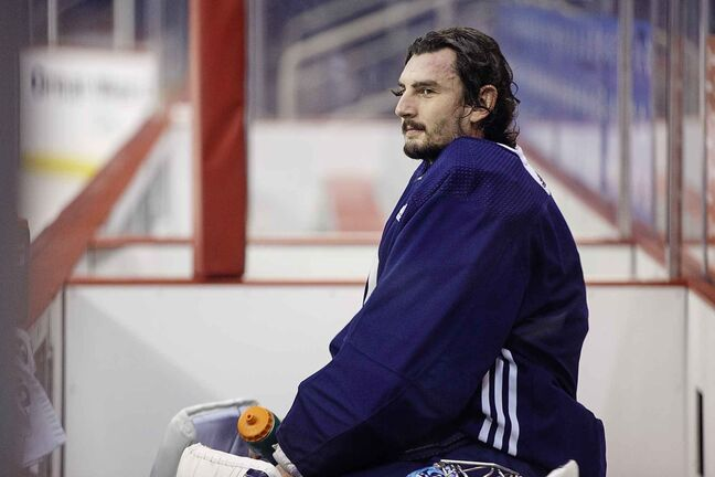MIKE DEAL / WINNIPEG FREE PRESS  Winnipeg Jets' goaltender Connor Hellebuyck (37) during practice Wednesday afternoon at Bell MTS Place.  190313 - Wednesday, March 13, 2019.