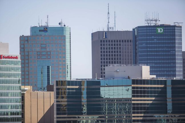 MIKAELA MACKENZIE / WINNIPEG FREE PRESS Downtown as seen from the roof of the Great West Life building at 60 Osborne St. N in Winnipeg on Wednesday, July 31, 2019. For photo page. Winnipeg Free Press 2019.