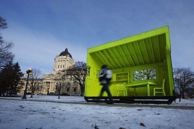 "JOHN WOODS / WINNIPEG FREE PRESS ""Warming Huts"" have been moved from The Forks to the Legislative grounds in Winnipeg on Wednesday, December 11, 2019.   Reporter: ?"