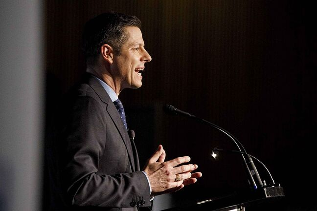 Winnipeg Mayor Brian Bowman talks during his State of the City address at the RBC Convention Centre over the lunch hour on Friday.