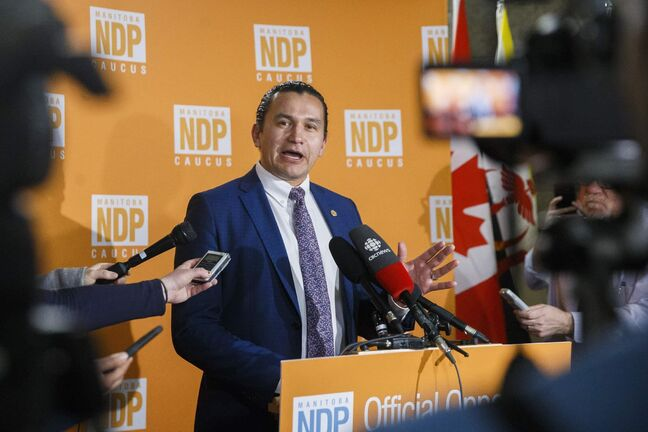 MIKAELA MACKENZIE / WINNIPEG FREE PRESS  Wab Kinew speaks to the media about delaying proceedings in the chamber at the Manitoba Legislative Building in Winnipeg on Wednesday, March 11, 2020.  Winnipeg Free Press 2019.