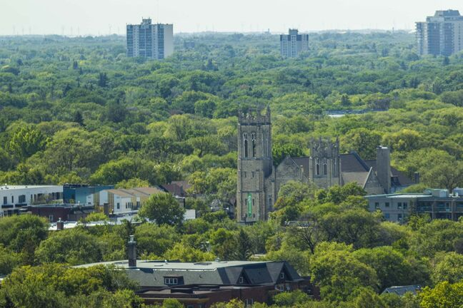 MIKAELA MACKENZIE / WINNIPEG FREE PRESS  The tree canopy and Westminster United Church, as seen from the Woodsworth Building, in Winnipeg on Wednesday, Aug. 19, 2020. For Gabrielle Piche story. Winnipeg Free Press 2020.