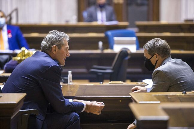 MIKAELA MACKENZIE / WINNIPEG FREE PRESS  Premier Brian Pallister (left) talks to minister of health Cameron Friesen during question period at the Manitoba Legislative Building in Winnipeg on Monday, Nov. 2, 2020. For --- story.  Winnipeg Free Press 2020