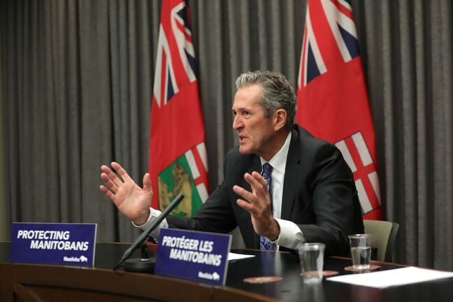RUTH BONNEVILLE / WINNIPEG FREE PRESS  LOCAL - Pallister Press   Manitoba Premier, Brian Pallister, holds media conference at the Legislative Building Thursday.   Dec 2nd. 2020