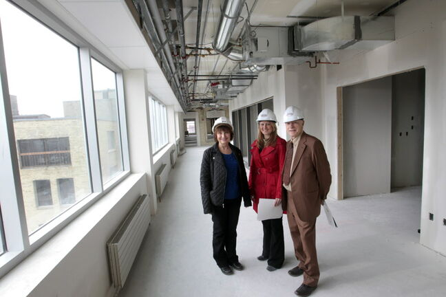 From right, Joe Diner, Vici Marentette and Barbara Lapointe on one of the floors being renovated at 111 Lombard Avenue — a heritage building being converted into an energy efficient office complex.